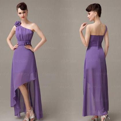 Purple Chiffon Ruched One-Shoulder ..