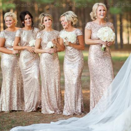 sequin bridesmaid dresses, short sl..