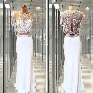 2 pieces prom dresses, white prom d..