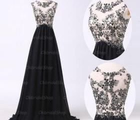 black lace prom dres..