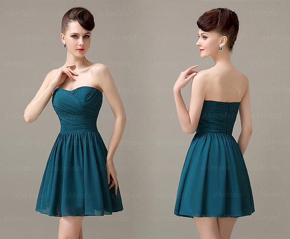 Teal Bridesmaid Dresses, Simple Bridesmaid Dress, Short
