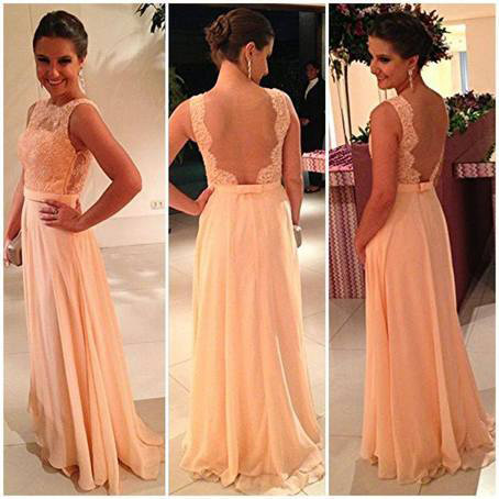 Lace Backless 2015 Prom Dresses