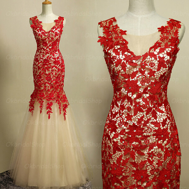 Mermaid Lace Prom Dress, Red Lace Prom Dress, Lace Prom Dresses ...