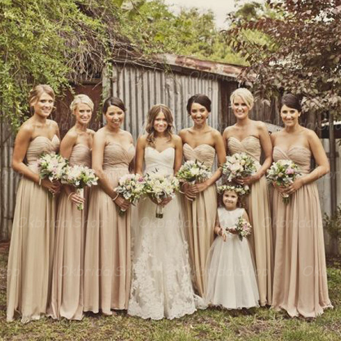 Champagne Bridesmaid Dresses, Chiffon Bridesmaid