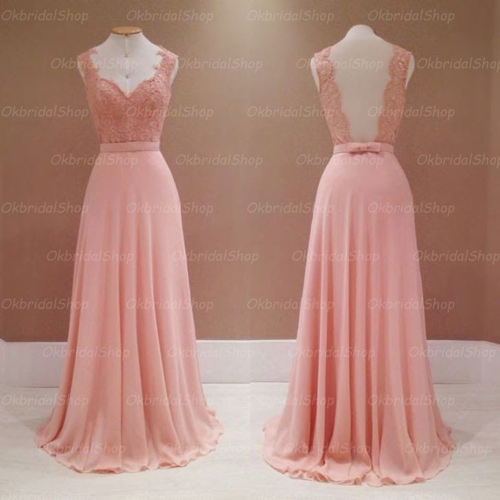 Blush Pink Prom Dresses, Backless Prom Dress, Lace Prom Dresses ...