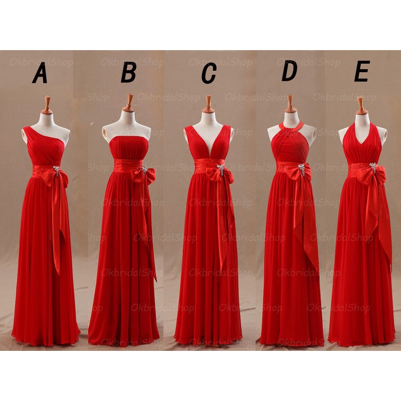 Red Bridesmaid Dresses, Mismatched Bridesmaid Dresses, Chiffon ...