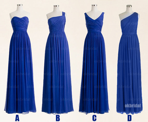 Blue Bridesmaid Dresses Affordable Long Chiffon Cm469