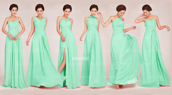 Mint Bridesmaid Dresses Custom Affordable Chiffon Cm471