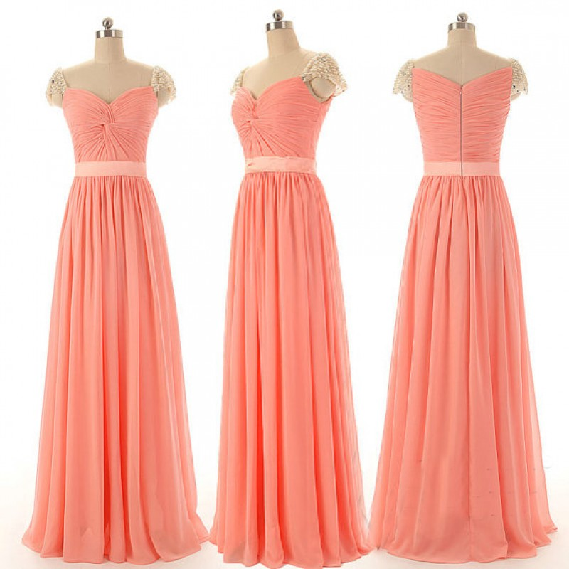 Peach Bridesmaid Dresses, Simple Bridesmaid Dresses, Cap Sleeve ...