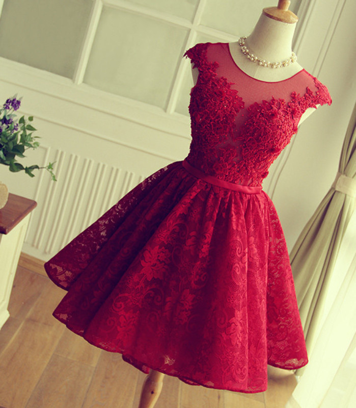 fe83713684a6 Red Short lace Prom Dress, Red homecoming Dress, 2016 Short Prom Dress,  dresses