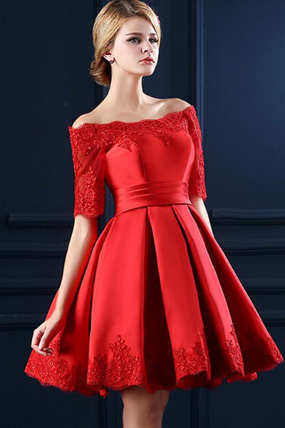 735084bff4f0 Custom Made Red Off-Shoulder Satin and Lace 3 4 Long Sleeve Evening Dress