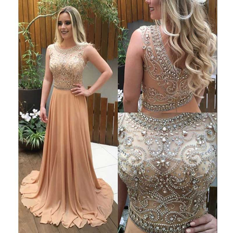 Champagne Rhinestone See Through Prom Dresses,