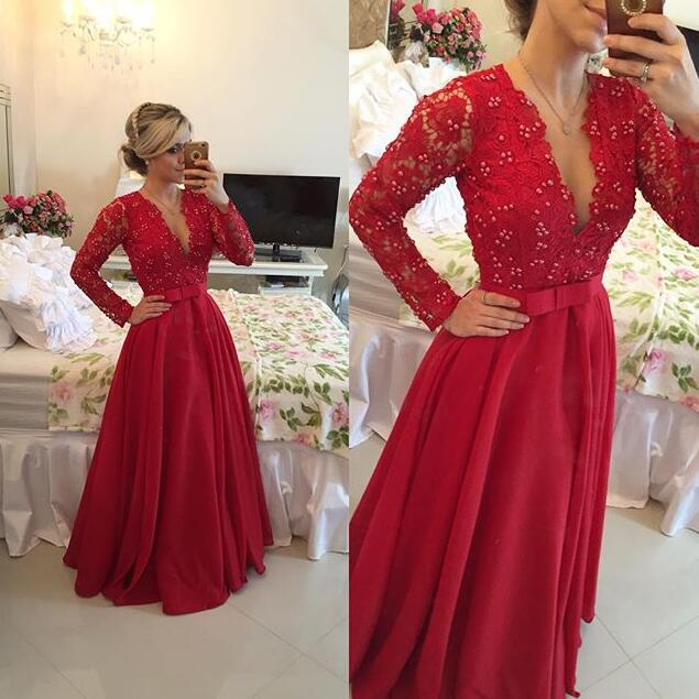 b9a3d3b3eb Long Sleeve Red Lace Prom Dresses