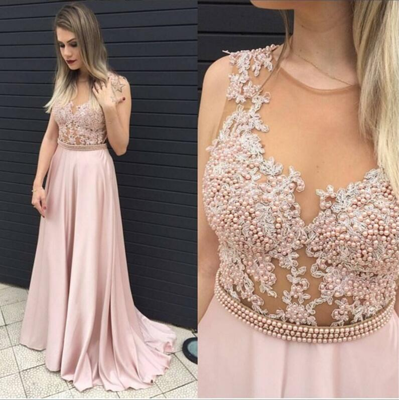 Lace Blush Pink Evening Prom Dresses 2017 Long Y See Through Party Dress Custom Formal 17033