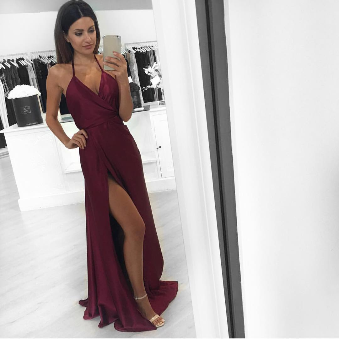 c4f74f97455ea Halter V Neckline Maroon Evening Prom Dresses, Long Side Slit Sexy Party  Prom Dress,