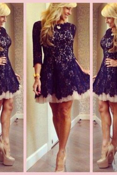 Long sleeve lace homecoming dresses, purple lace homecoming dresses, modest homecoming dresses, juniors homecoming dresses, 2016 short homecoming dress, CM570