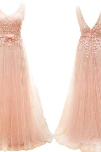 Blush pink prom dresses, lace prom dresses, long prom dresses, prom dresses online, 2016 prom dresses, party dress, PM657