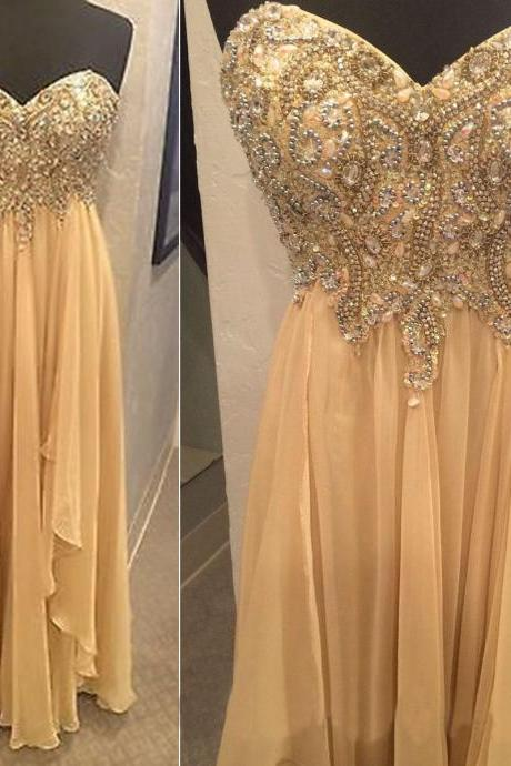 champagne prom dresses, chiffon prom dress, long prom dresses, cheap prom dresses, 2016 prom dresses, custom prom dresses, dresses for prom, CM687