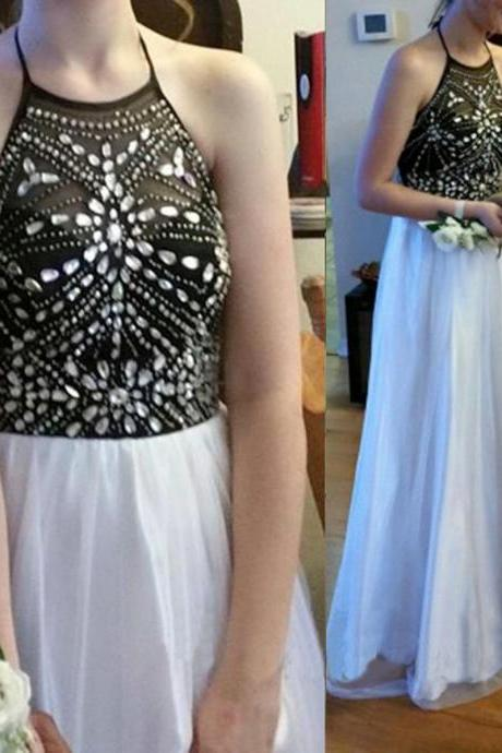 White and black prom dresses, sexy prom dresses, long prom dresses, prom dresses online, 2016 prom dresses, party dress, PM686