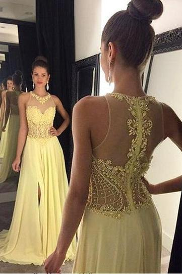 See through Prom Dresses, halter yellow Prom Dress, beaded Prom Dress, chiffon Prom Dress, dresses for prom, 17118