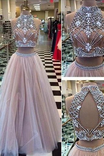 2 pieces Prom Dresses, Sexy tulle Prom Dress, lace Prom Dress, long Prom Dress, dresses for prom, sexy prom dresses, 17116