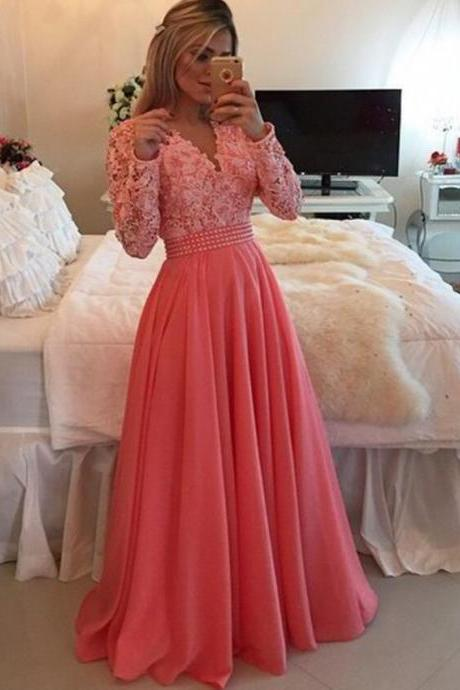 Long sleeve lace Prom Dresses, Pink Prom Dress, A line Prom Dress, 2016 Prom Dress, dresses for prom, fashion prom dress, unique prom dress. 17133