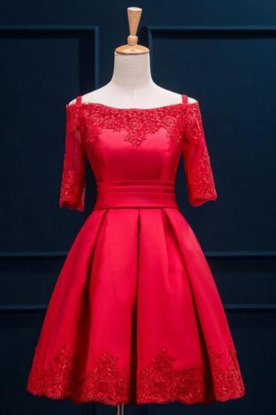 Short sleeve Prom Dress, Red prom Dress, Lace Prom Dress, dresses for Prom, custom prom dresses 2016, 17136