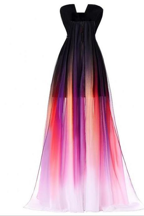 Ombre Prom Dress, Long Prom Dress, chiffon Prom Dress, 2016 Prom Dress, Formal Prom Dress, See through prom dress, 17142