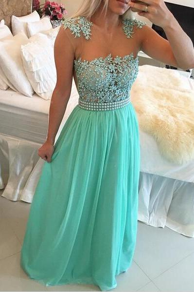 Green Prom Dress, Lace prom Dress, Chiffon Prom Dress, dresses for Prom, custom prom dresses 2016, cheap prom dresses, CM776