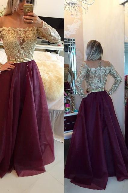 Long sleeve Prom Dresses, Organza Prom Dress, Lace Prom Dress, 2016 Prom Dress, dresses for prom, fashion prom dress, unique prom dress. CM815