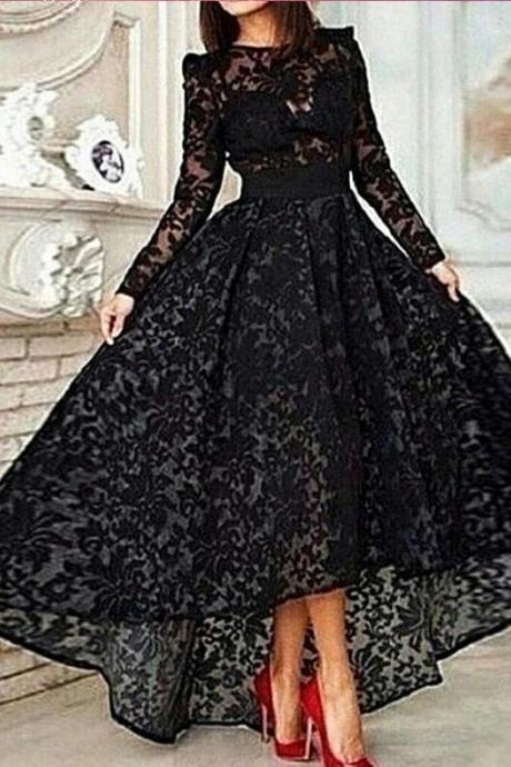 Long sleeve lace Prom Dress, Modest Prom Dress, Black Prom Dress, 2016 Prom Dress, High low Prom Dress, Gorgeous prom dress, CM816