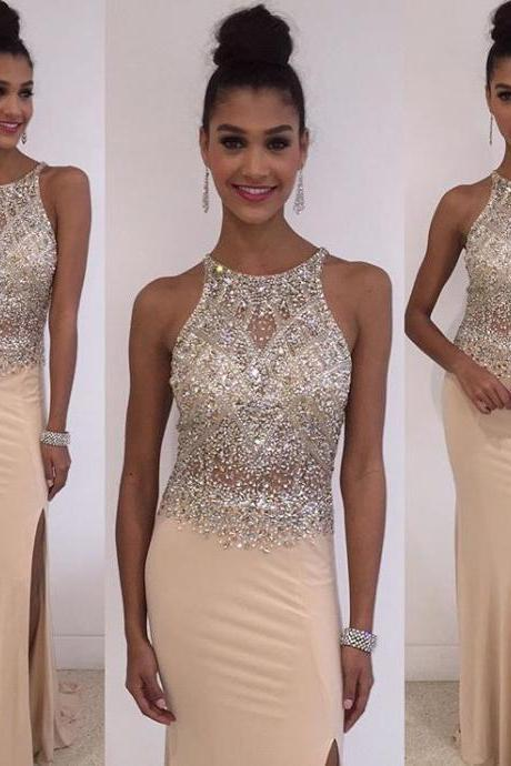 Champagne Beaded Prom Dress, Long 2016 prom Dress, Sexy Prom Dress, dresses for Prom, sexy prom dresses 2016, fashion prom dresses, CM851
