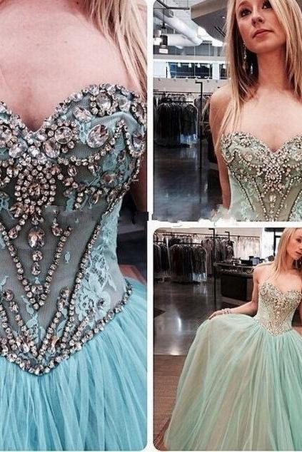 A line Blue Prom Dress, Long Sparkly Prom Dress, Sexy Tulle Prom Dress, 2016 Prom Dress, Custom Prom Dress, Gorgeous prom dress, CM853