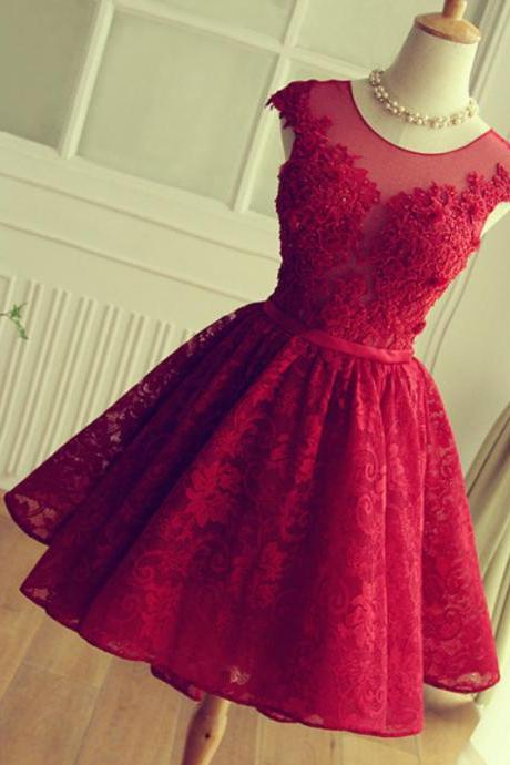Red Short lace Prom Dress, Red homecoming Dress, 2016 Short Prom Dress, dresses for Prom, custom prom dresses 2016, cheap prom dresses, CM871