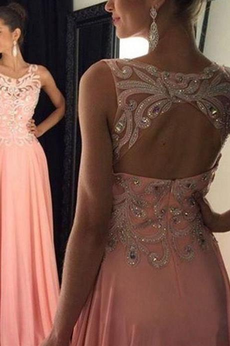 Blush pink open back Prom Dresses, Sexy See through Prom Dress, Long Prom Dress, 2016 Prom Dress, dresses for prom, fashion prom dress, unique prom dress. CM874