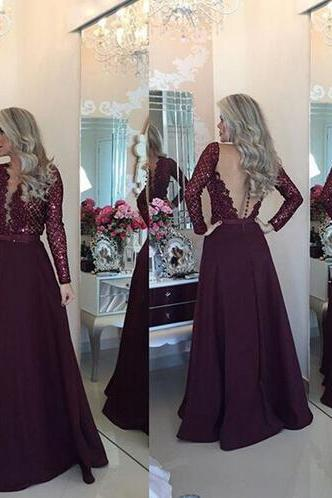 Long sleeve lace Prom Dress, 2016 Long Prom Dress, Sexy Prom Dress, Rhinestone Prom Dress, Long Prom Dress, Unique prom dress, CM877