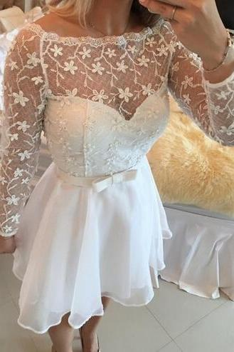 Long sleeve Lace homecoming dress, See through homecoming dress, short homecoming dresses, 2016 homecoming dress, short prom dresses, homecoming dress, CM9774