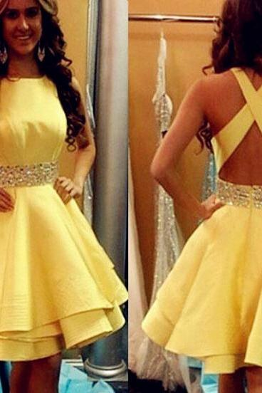 Yellow homecoming dress, Backless homecoming dress, short homecoming dresses, 2016 homecoming dress, short prom dresses, homecoming dress, CM975