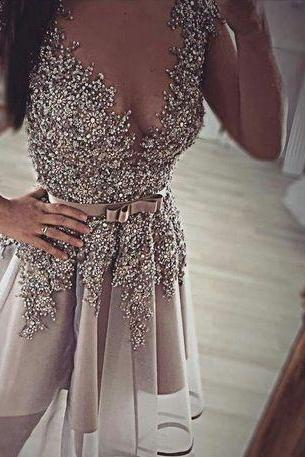 Grey beaded homecoming dress, Beaded homecoming dress, short homecoming dresses, 2016 homecoming dress, short prom dresses, homecoming dresses, CM1038