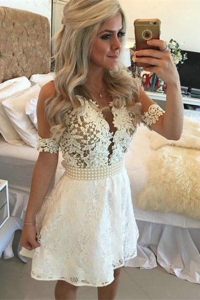 ivory lace homecoming dress, Short sleeve homecoming dress, short homecoming dresses, 2016 homecoming dress, short prom dresses, homecoming dress, CM1059