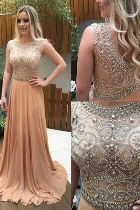 Champagne Rhinestone See through Prom Dresses, 2017 Beaded Prom Dress, Sexy Long Prom Dress, Rhinestone Evening Dresses, Long Prom Dress, Unique prom dress, CM1106
