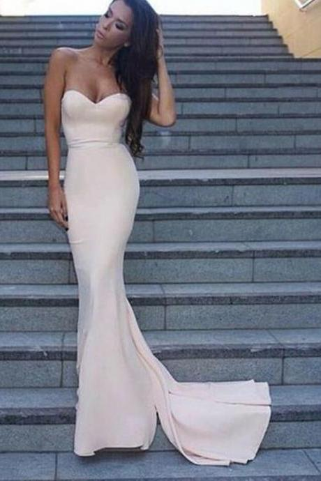 Simple Mermaid Light Pink Evening Prom Dresses, 2017 Long Party Prom Dress, Custom Long Prom Dresses, Cheap Formal Prom Dresses, 17086