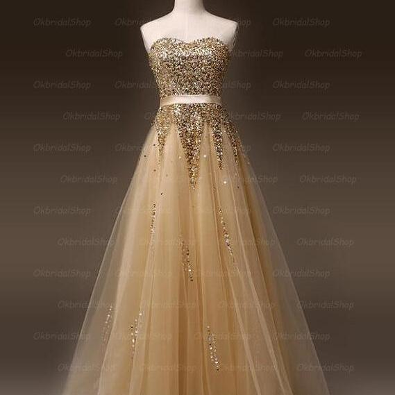 Golden prom dresses, tulle prom dress, sexy prom dresses, a line prom dresses, 2015 prom dresses, sexy prom dresses, dresses for prom, CM163
