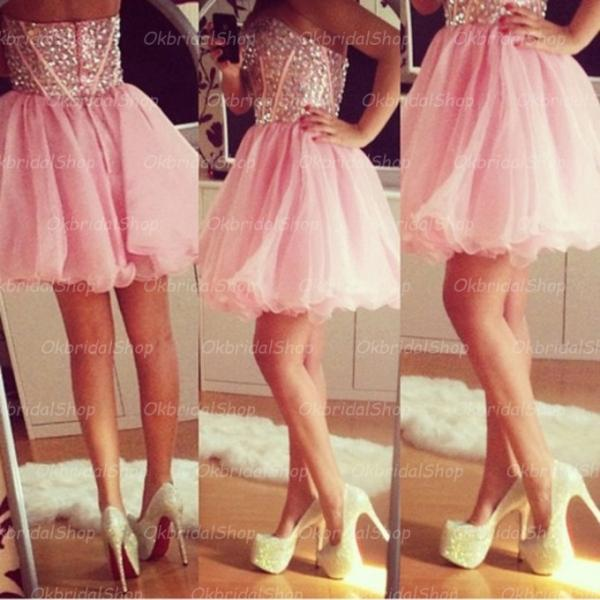 short pink prom dresses, tulle prom dresses, 2015 prom dresses, pink prom dresses, dresses for prom, CM179