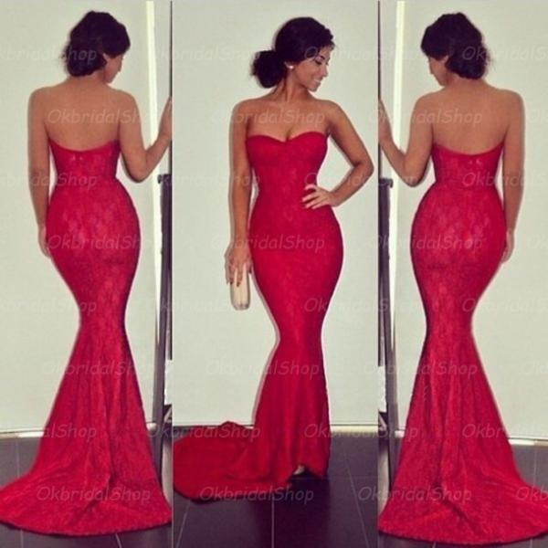 Lace Mermaid Prom Dresses Red Prom Dresses 2015 Prom Dresses Lace