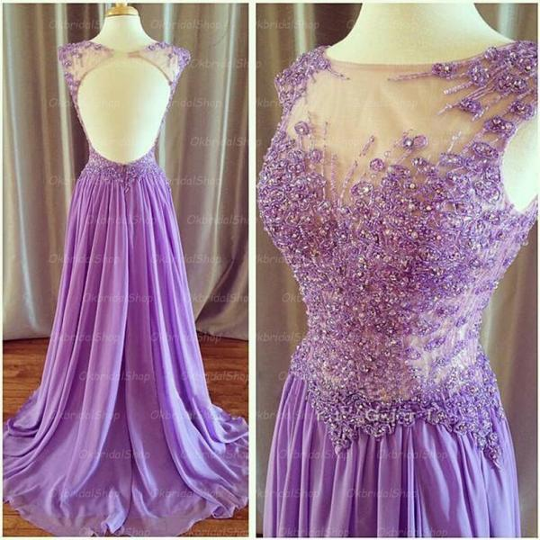 Lace Lilac Prom Dresses Mermaid Prom Dress Chiffon Prom Dresses