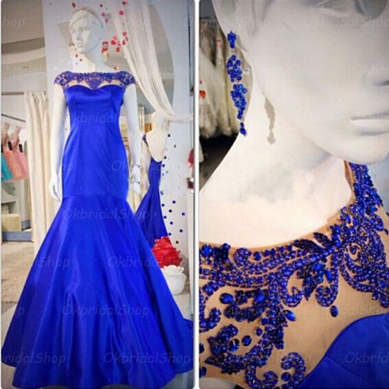 mermaid prom dresses, beaded prom dress, blue prom dress, chiffon prom dresses, custom prom dresses, 2015 prom dresses, sexy prom dresses, dresses for prom, CM381