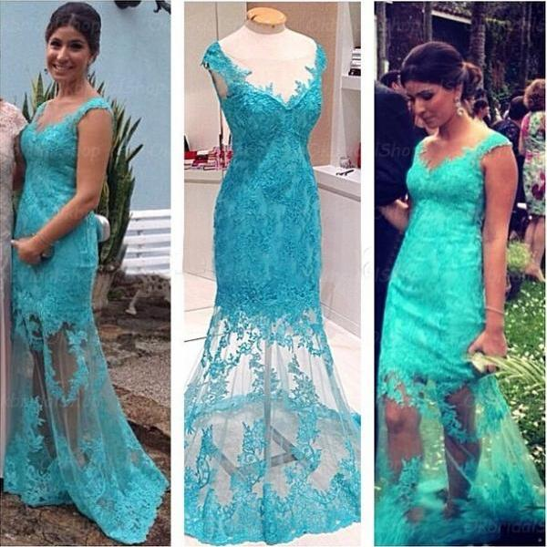 lace prom dresses, mermaid prom dress, turquoise prom dresses, formal prom dresses, 2015 prom dresses, sexy prom dresses, dresses for prom, CM383