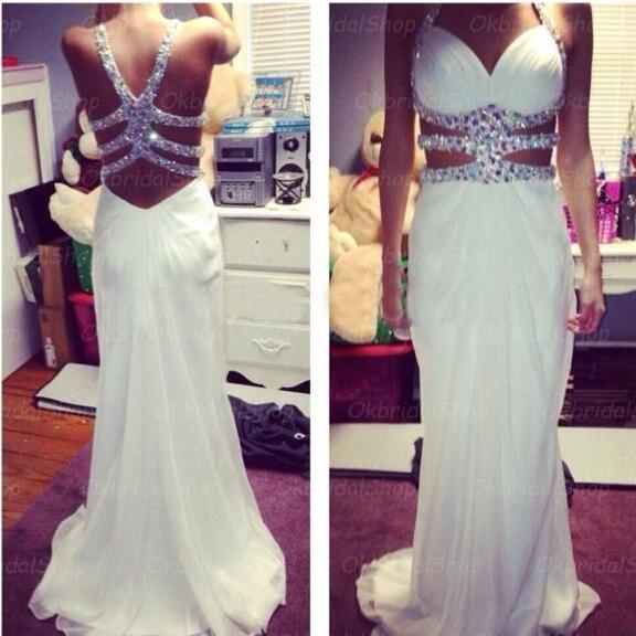 white prom dresses, backless prom dress, chiffon prom dresses, custom prom dresses, 2015 prom dresses, sexy prom dresses, dresses for prom, CM384