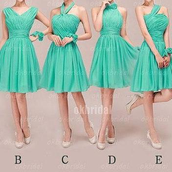 Green Bridesmaid Dresses, Mismatched Bridesmaid Dresses, short Bridesmaid Dresses, cheap Bridesmaid Dresses, CM473